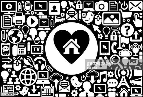 Huis in hart pictogramachtergrond zwart-wit Internet technologie