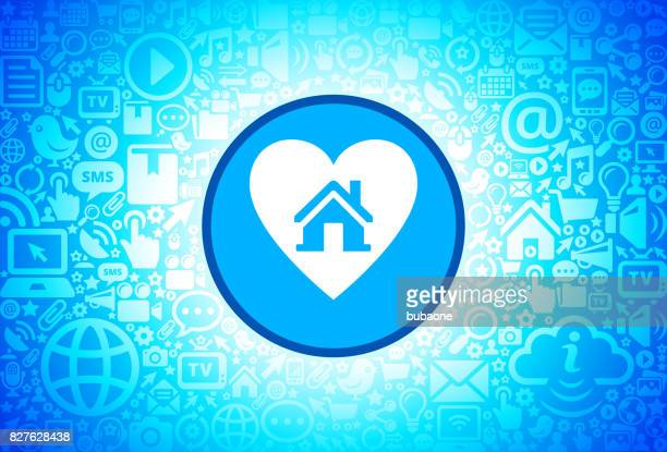 Huis in hart pictogram op Internet technologie achtergrond