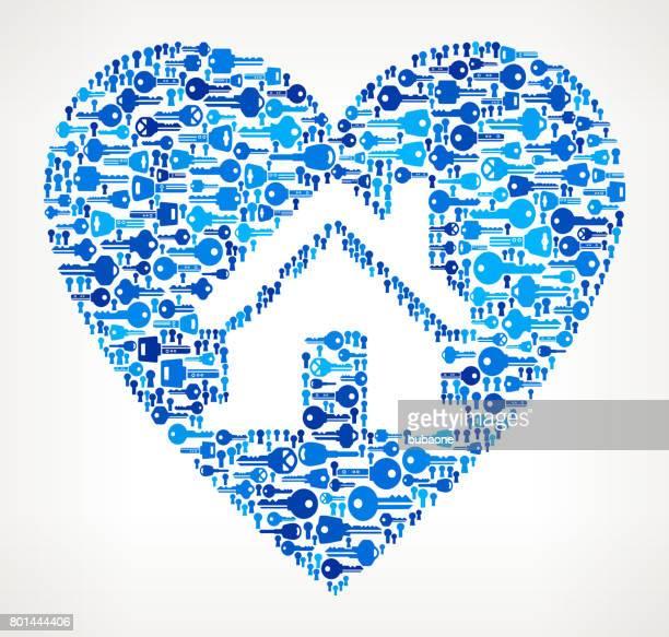 Huis in hart sleutels patroon vectorafbeelding