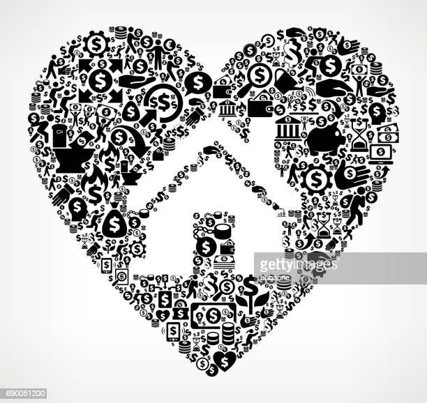 House in Heart Money and Finance Black and White Icon Background