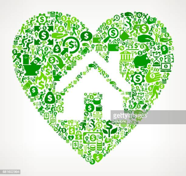 House in Heart Money and Finance Green Vector Icon Background