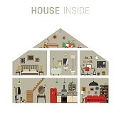 House in cut infographics with furniture. Vector flat house with set of basic rooms.