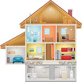 Detailed house interior isolated on white background, vector EPS 10.