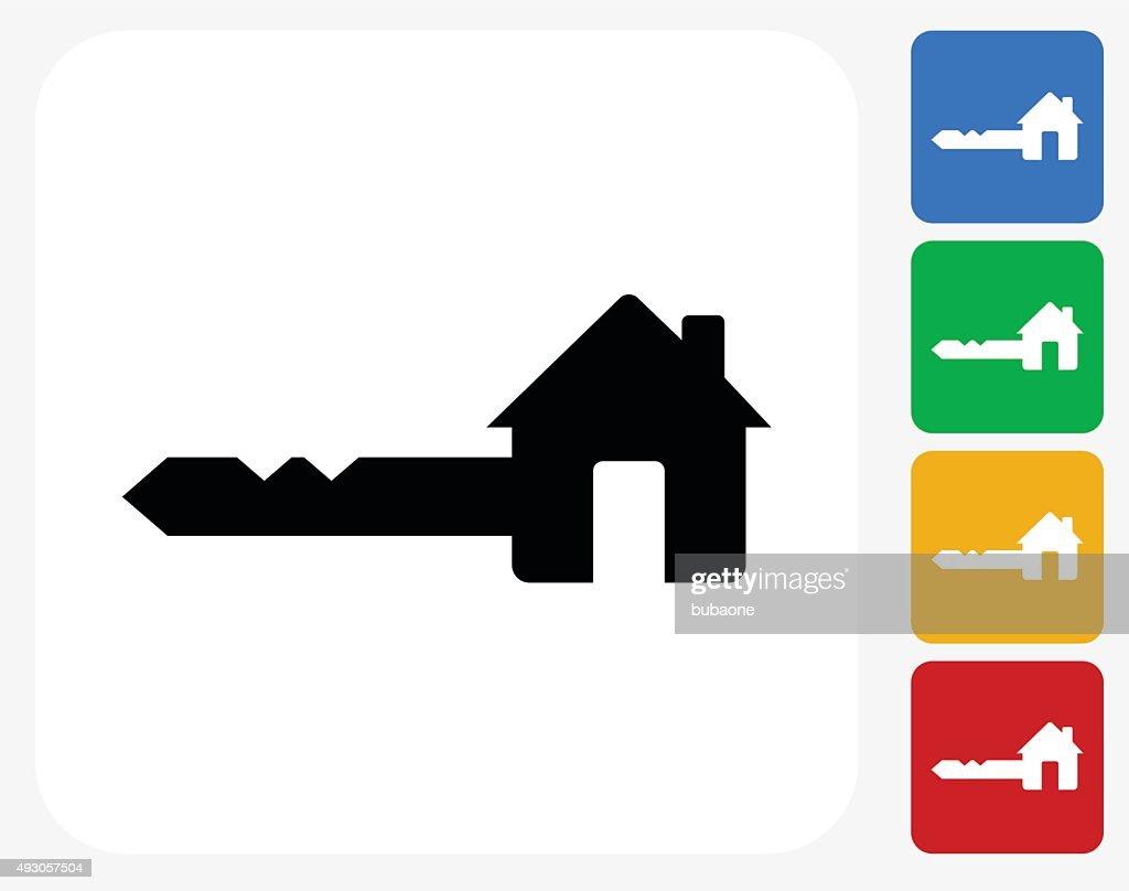 house key icon flat graphic design vector art