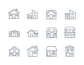 House Line Icon Vector / Home icon / Building  houses - Vector thin line icon. eps 10