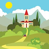 Southern landscape. House on the hill in the hot sun. Turret with a triangular roof. In the distance the mountains. Sun and clouds on a blue sky. From home yellow road. According to her car rides. Gre