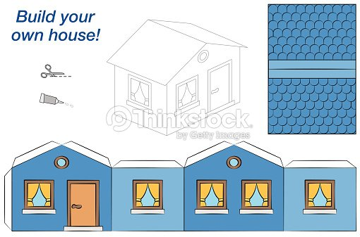house paper model blue stock vector   thinkstock