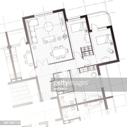House Plan Vector Grey House Plan A White Background Stock