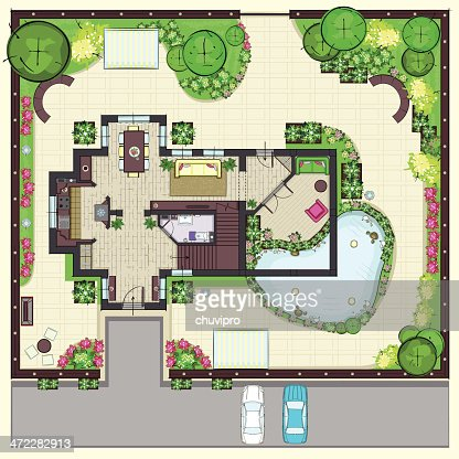 House plan top view with garden vector art getty images for Garden home floor plans