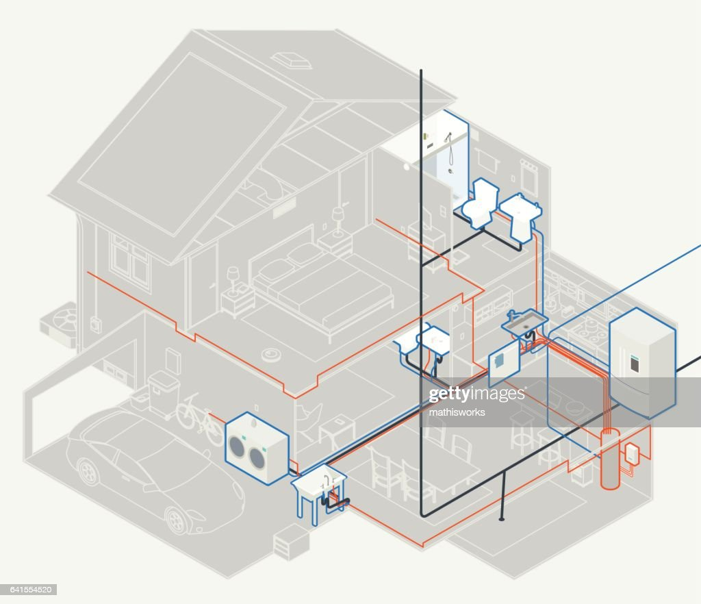 House Plumbing Diagram : Vector Art