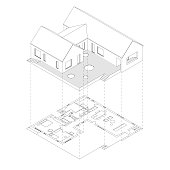 House with plan projection on white background. Isometric line illustration of sketch house.