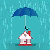 Hand hold umbrella cover the house protection concept