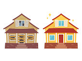 Fixer upper home renovation before and after. Old run-down house remodelled into cute traditional suburban cottage. Isolated vector illustration, flat cartoon style.