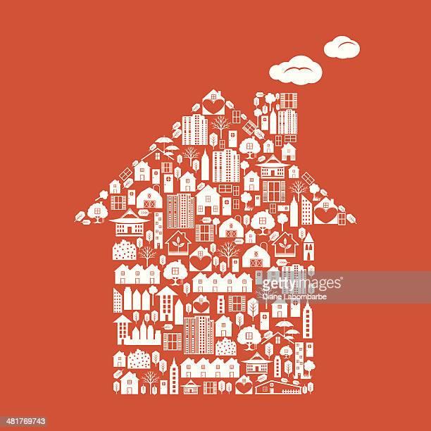 Forma de la casa Real Estate iconos en blanco sobre fondo naranja