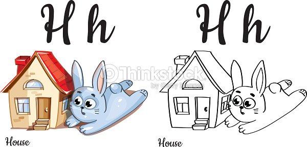 Casa Letra Del Alfabeto Vector H Página Para Colorear Arte vectorial ...