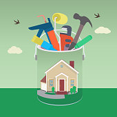 House with tool in colorful design. Vector illustration