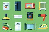 Vector collection of household appliances icons. Flat style.