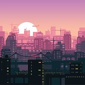 Vector illustration of urban houses and sites in pink sunset lights.