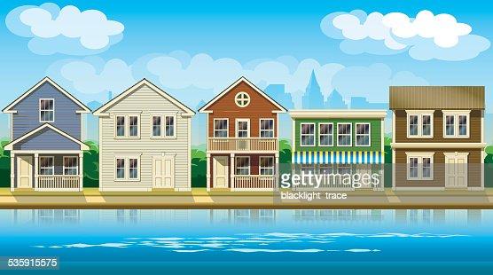 houses suburb : Vector Art