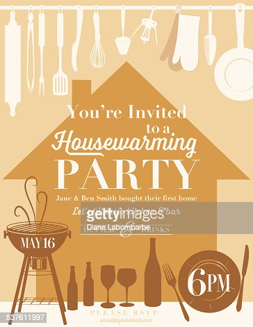 Housewarming party kitchen invitation vector art getty for When to throw a housewarming party