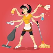 Housewife vector flat illustration