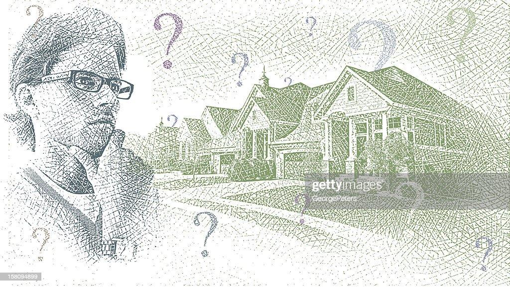 Housing Market Uncertainty : Vector Art