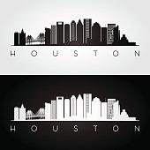 Houston USA skyline and landmarks silhouette, black and white design, vector illustration.