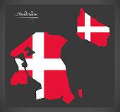 Hovedstaden map of Denmark with Danish national flag illustration