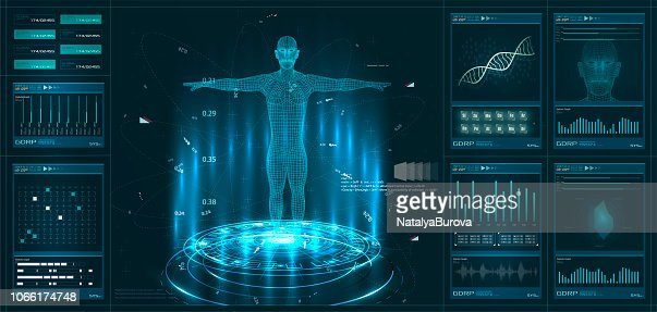 Hud element ui medical examination. Display set of virtual interface elements. Modern medical examination HUD style : stock vector