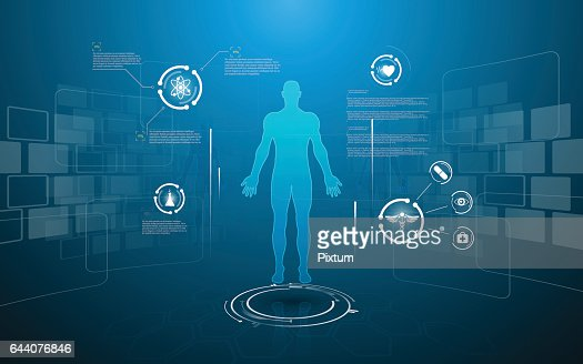 hud interface virtual hologram future system health care innovation concept : stock vector