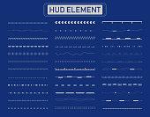 Set of hud lines elements on blue background vector illustration