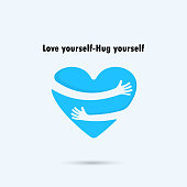 Hug yourself icon.Love yourself icon.Love and Heart Care logo.Vector illustration