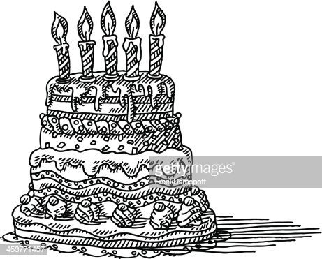 huge birthday cake candles drawing vector art getty images