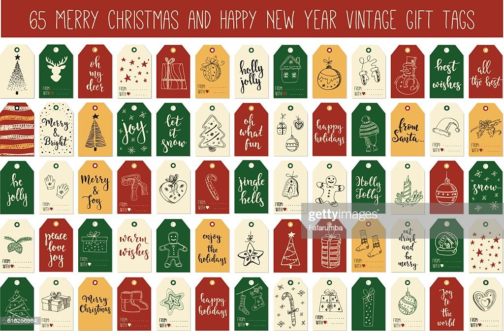 Huge collection Merry Christmas and Happy New Year vintage gift : Vector Art
