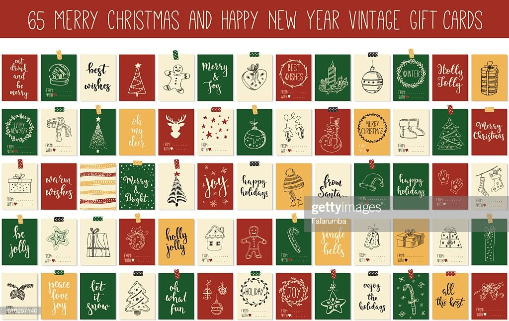 Huge collection Merry Christmas and Happy New Year vintage gift : Arte vetorial