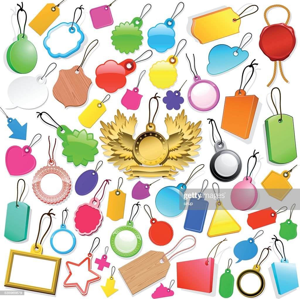 Huge collection of colourful tags : Vector Art
