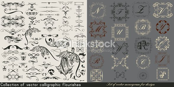 Huge collection or set of vintage vector flourishes and monograms for design : stock vector