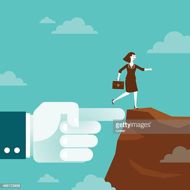Huge Hand Shows Direction to Businesswoman | New Business Concept