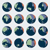 Huge set of comic style globe map with bright colors for world wide political illustrations