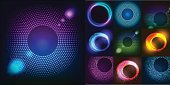 Huge set of glowing rounds with glitter. Abstract colored shape for your business idea. Vector editable logo background illustration. EPS vector illustration