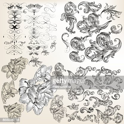 Huge set of vector flourishes, swirls and hand drawn flowers : stock vector