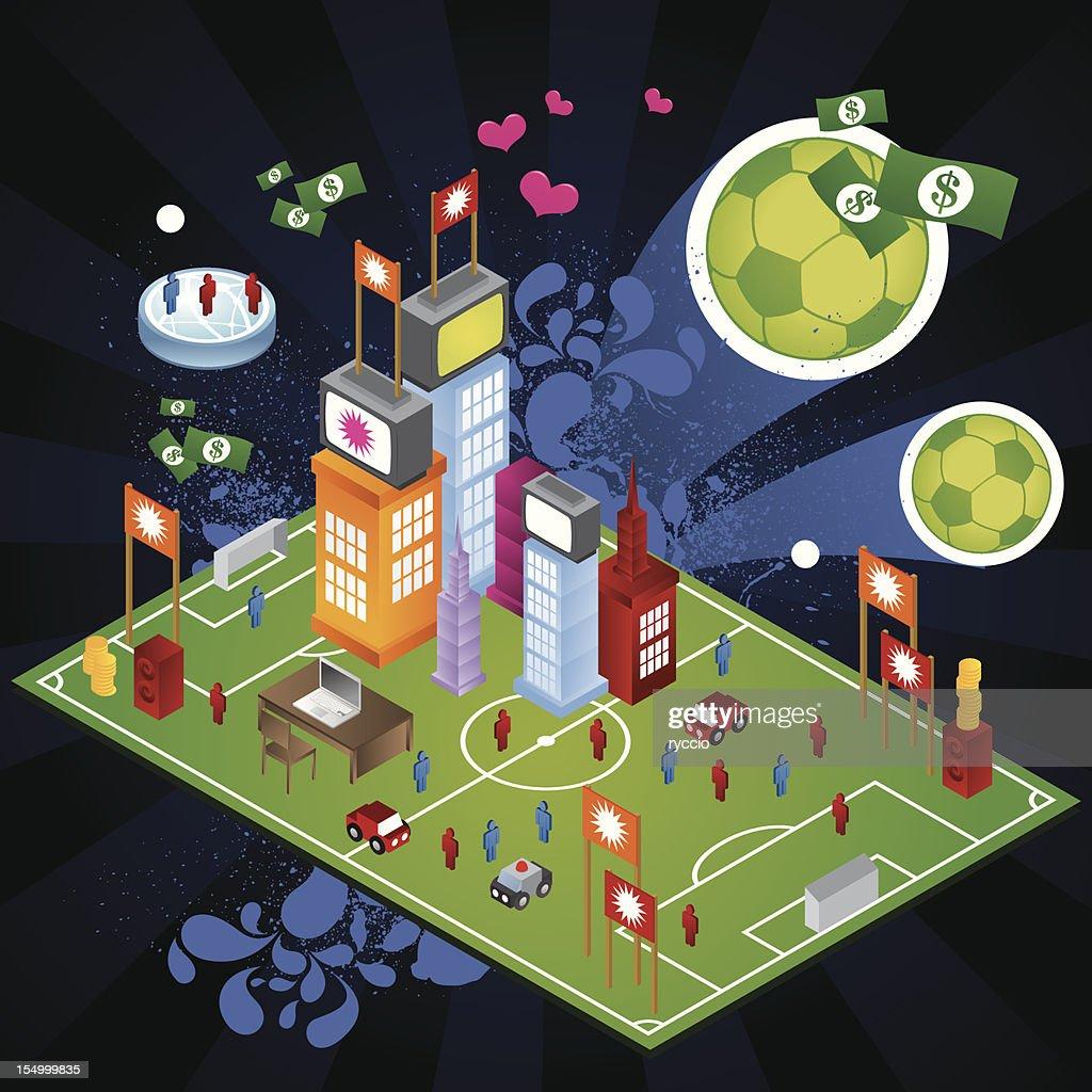 Huge Soccer city : Vector Art