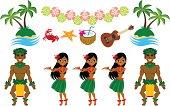 Vector illustration of Hula Dancer and Hawaiian image set. Files included: EPS 8, AI CS2,  and large JPG.