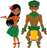 Vector illustration of Hula Dancer, man and woman.