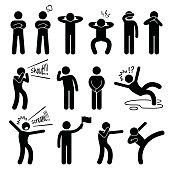 A set of human pictogram representing basic human poses such as arm crossed, closing ear, closing eyes, closing mouth, shouting, listening, falling down, screaming, punching, and kicking.