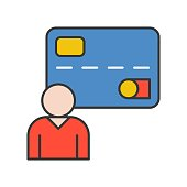 human and credit card, personal data or user, bank and financial related icon, filled outline editable stroke