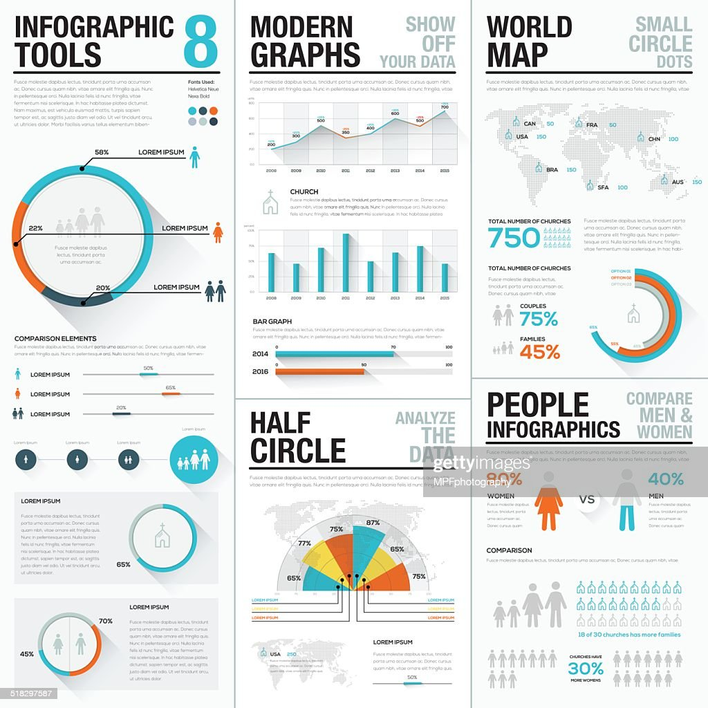 Human and people infographic vector elements blue and red color