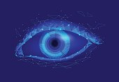Human android cyborg eye futuristic control protection personal internet security access.Concept robot dna system, future scientific technology innovation science. Blue polygonal vector art