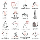 Vector set of 16 linear icons related to human behavior and mental conditions. Mono line pictograms and infographics design elements