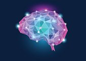 Human brain concept illustration with purple teal colors and glow